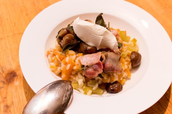 risotto met pompoen en kastanjes