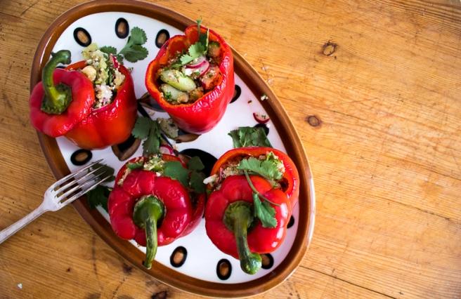 gevulde paprika met quinoa salade